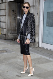 jacket,studded jacket,olivia palermo,leather jacket,embellished leather jacket