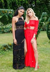 skirt,red dress,red,two-piece,two piece dress set,hailey baldwin,model,crop tops,slit maxi skirt,slit skirt,maxi skirt,gown,black dress,off the shoulder,off the shoulder top,summer,summer dress,summer outfits,sandal heels,high heel sandals,shoes,chanel iman,halter dress,mesh dress,red skirt,nude heels,maxi dress,dress