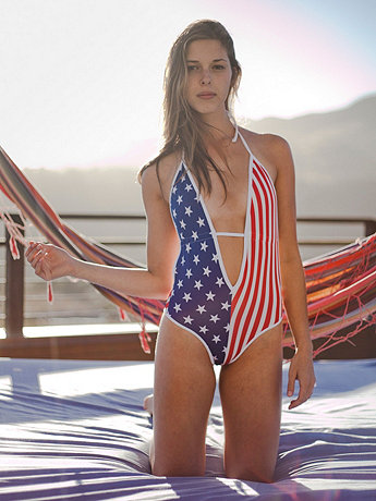 US Flag Print Maillot-V Swimsuit | American Apparel