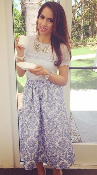 skirt midi skirt white and blue
