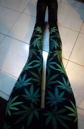 pants,leggings,weed,dope,dope shit,jeggings,black,green