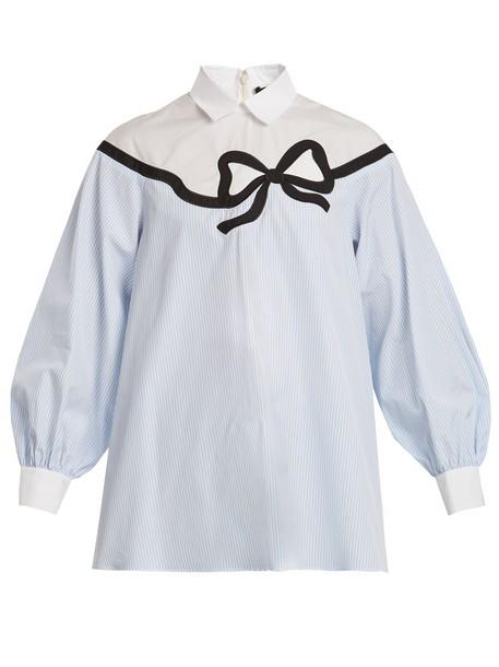 WEEKEND MAX MARA shirt bow cotton blue top