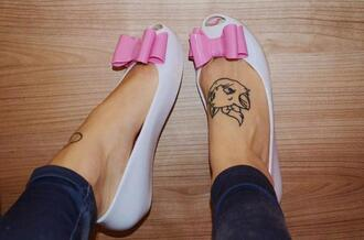 shoes bow pink white