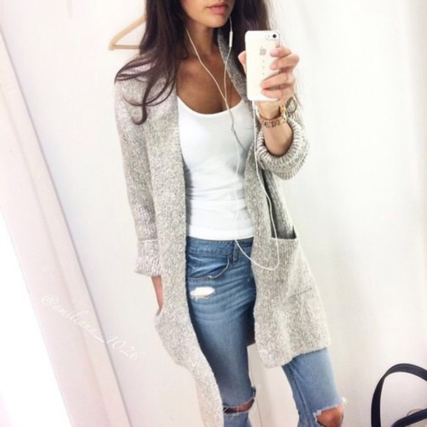 Cardigan: jeans, grey, long, cozy, fall outfits, warm, stylish ...