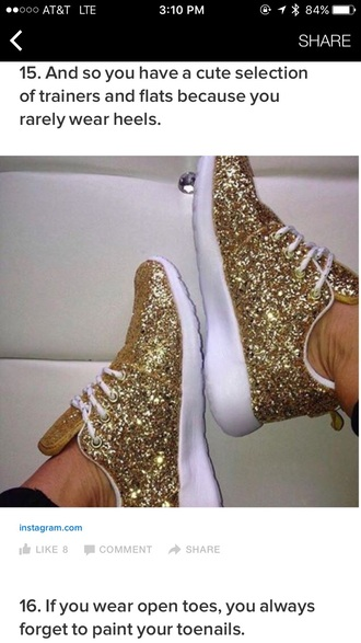 shoes gold sparkles