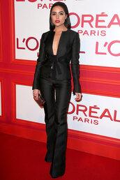 pants,blazer,olivia culpo,fashion week 2016,paris fashion week 2016,plunge v neck,suit