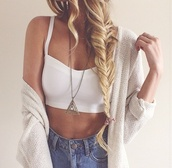 shirt,sweater,jewels,tank top,shorts,cardigan,summer,crop tops,necklace,t-shirt,jeans,white,casual,beach,triangle,jewelry,fishtail braid,knitted cardigan,knitted sweater,top,denim shorts,denim,outfit,fashion,hair,blue,beige,summer outfits,beautiful,chic,blonde hair,bag,crop,cropped,oversized,tumblr fashion,tumblr outfit