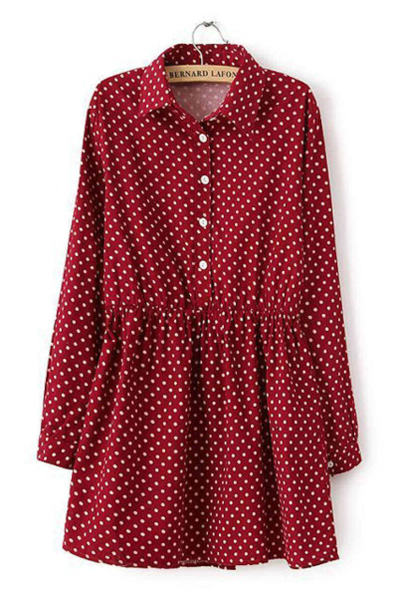 2014 Spring New Section Lapel Long Sleeve Polka Dot Pleated Dress,Cheap in Wendybox.com