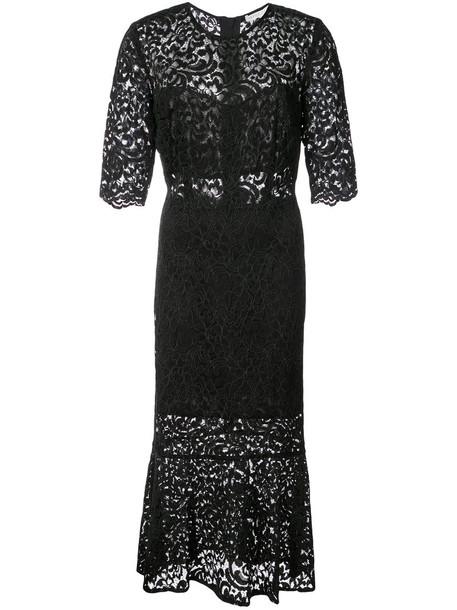 Veronica Beard dress embroidered women spandex lace black