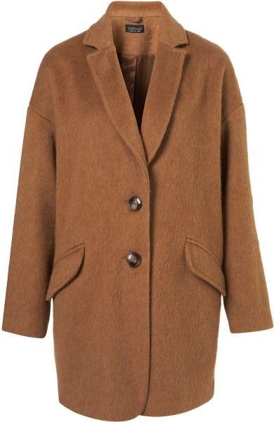 Topshop Camel Oversized Boyfriend Coat Wool Vintage 8 10 | eBay