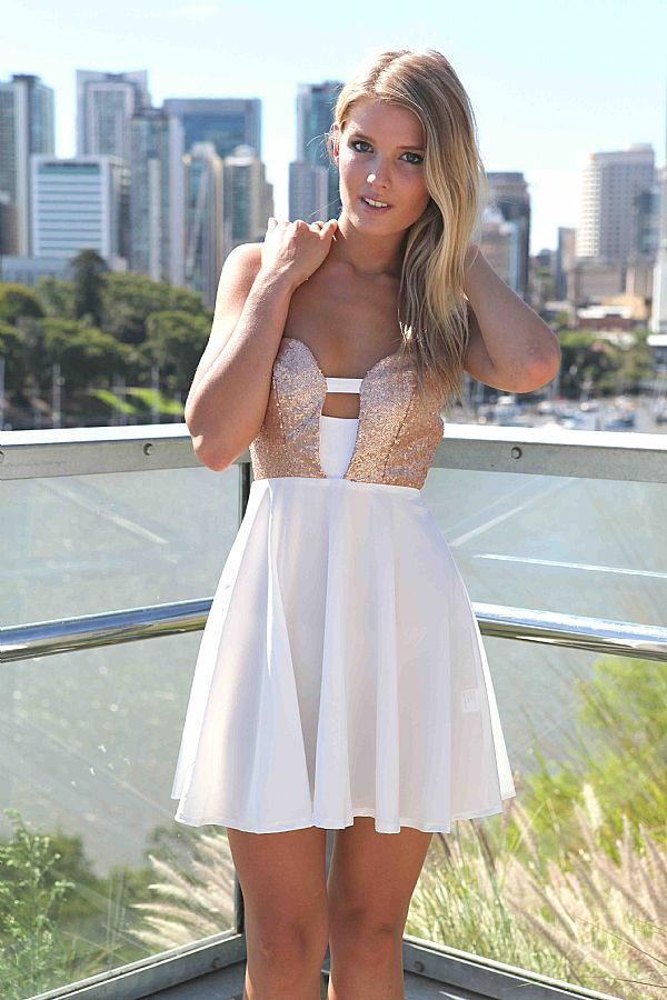 Party Dress - White Skater Dress with Gold | UsTrendy