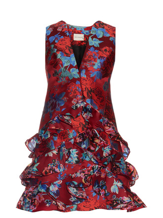 dress jacquard floral red