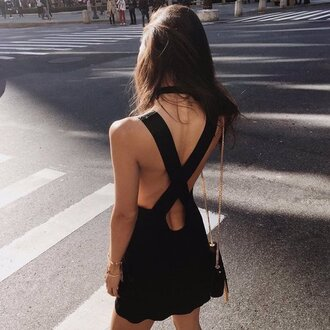 dress backless black cross back little black dress tumblr