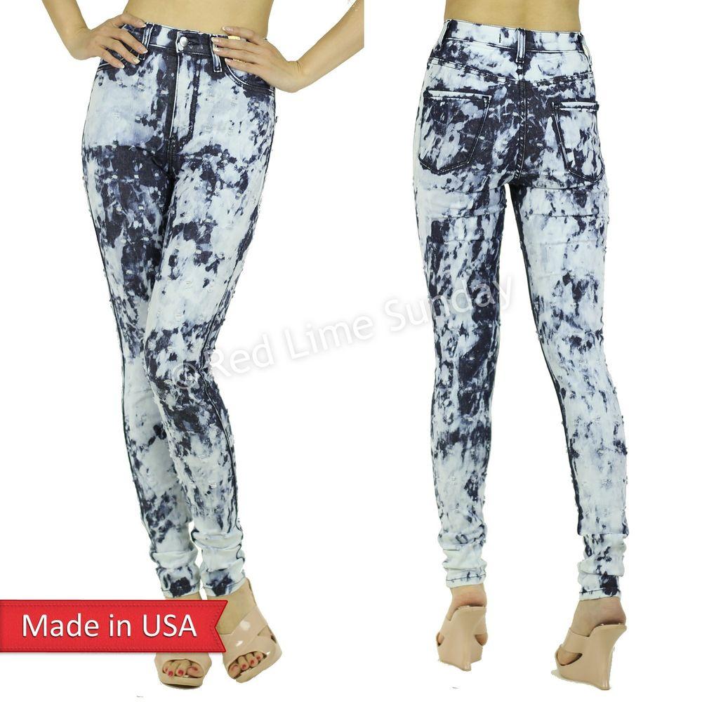 Bleached High Waist Distressed Cut Jeans Pants Bottoms Denim Regular Plus USA