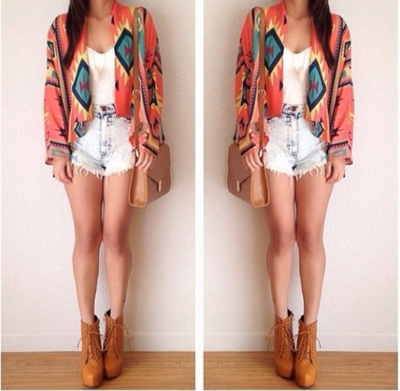 summer sun indie cute blue sweater aztec coral cardigan