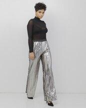 pants,sequins,sequin pants,silver,silver pants,silver sequins,silver sequin pants
