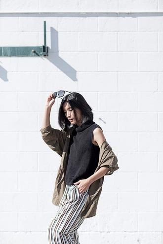 von vogue blogger top jacket pants shoes sunglasses