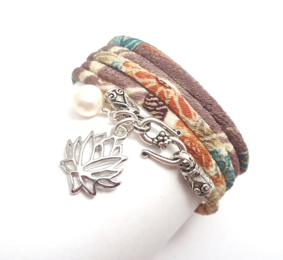 Japanese chirimen cord wrap bracelet with by charmeddesign1012