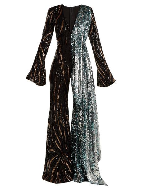 HALPERN Sequin-embellished wide-leg jumpsuit in black / multi