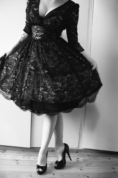 vintage retro formal dress formal pin up graduation black and white sleeves rockabilly