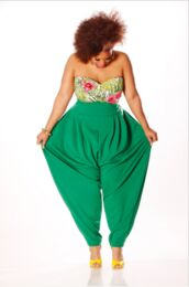 pants,green,plus size,jumper,harem pants,slouchy jumper,tank top,green pants,parachute pants,high waisted pants,jumpsuit,plus and any color,slouch pants