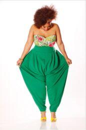 pants,green,plus size,jumper,harem pants,slouchy jumper,tank top,green pants,parachute pants,high waisted pants,jumpsuit,plus and any color,slouch pants