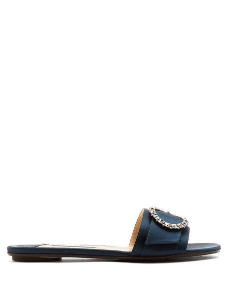 Jimmy Choo embellished satin navy shoes