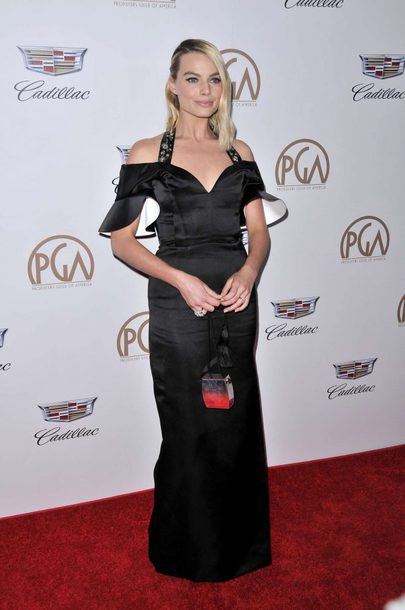 dress gown black dress maxi dress margot robbie clutch red carpet dress bag