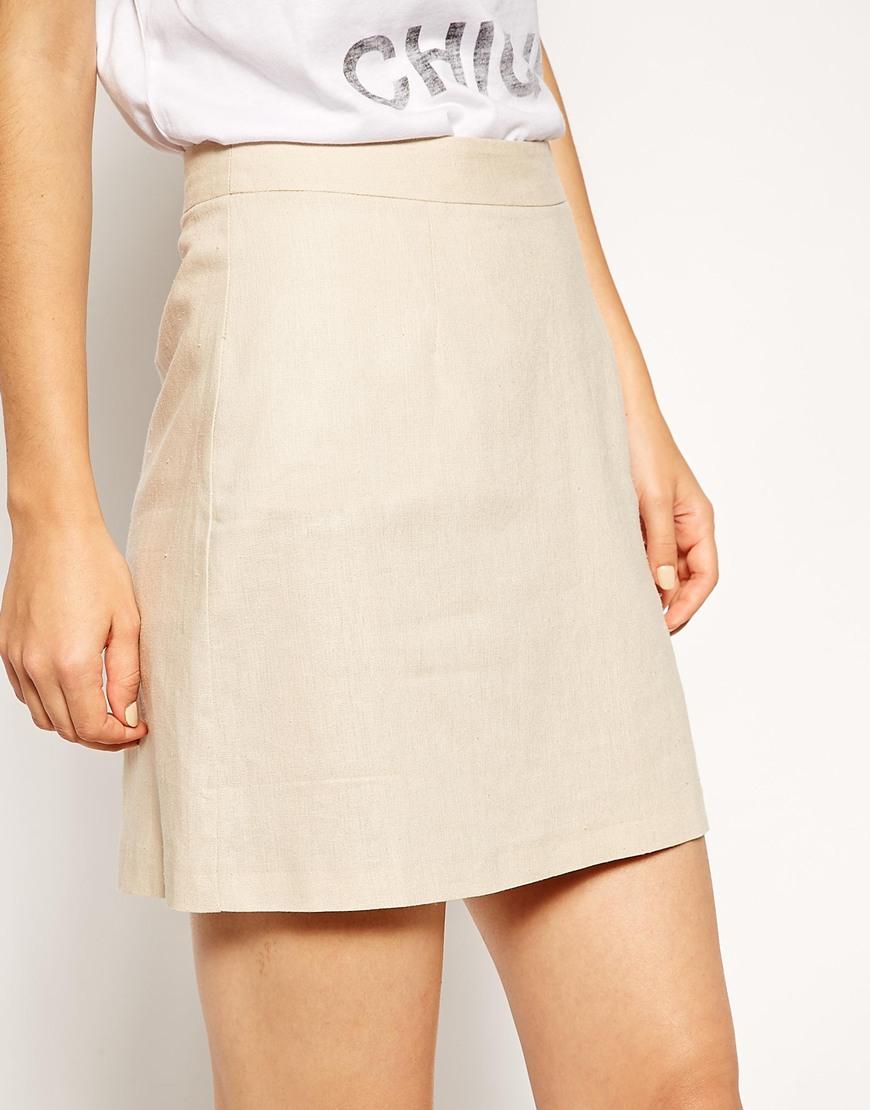 Line linen mini skirt at asos.com