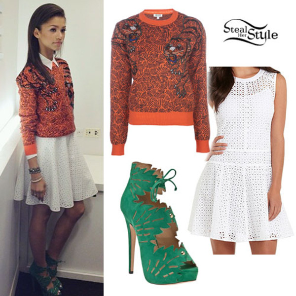 blouse white orange sweatshirt dress zendaya shoes