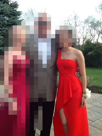 dress red red dress red prom dress clothes prom dress one shoulder high low prom dresses