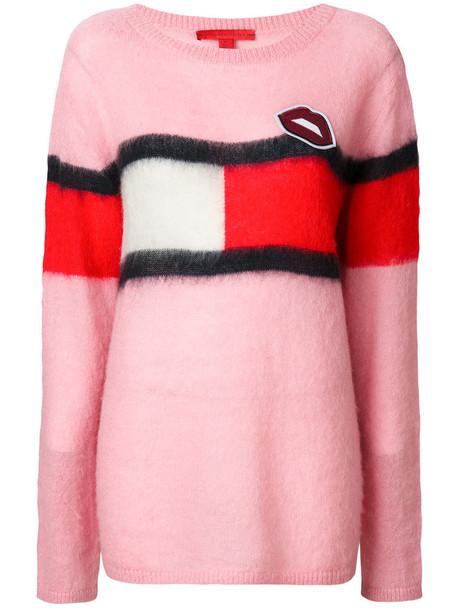 Hilfiger Collection - Tommy flag sweatshirt - women - Acrylic/Polyamide/Mohair - XS, Pink/Purple, Acrylic/Polyamide/Mohair