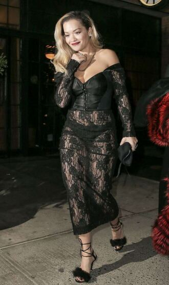 dress lace dress black dress black lace dress sandals rita ora shoes see through see through dress