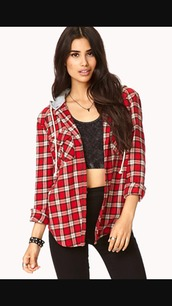 skirt,plaid,flannel,blouse,hood,hooded flannel,red,grey,long sleeves,shirt,winter outfits,summer,autumn necklace,spring,cute,sporty,girly