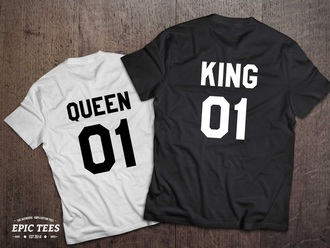 t-shirt king couples shirts queen matching couples black and white etsy number king and queen