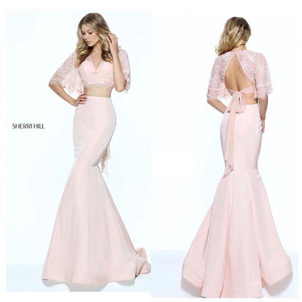 119d45a88bab dress sherri hill lace dress fit and flare dress mermaid dresses pink dress  blush pink prom