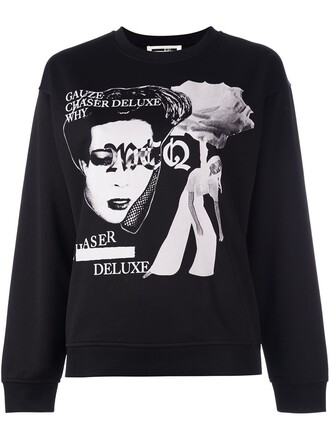 sweatshirt women print black sweater