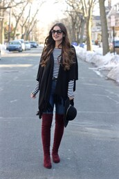 lamariposa,blogger,shirt,jeans,shoes,sunglasses,hat,striped top,cardigan,spring outfits,thigh high boots,boots