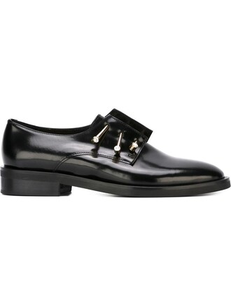 metal women shoes leather black