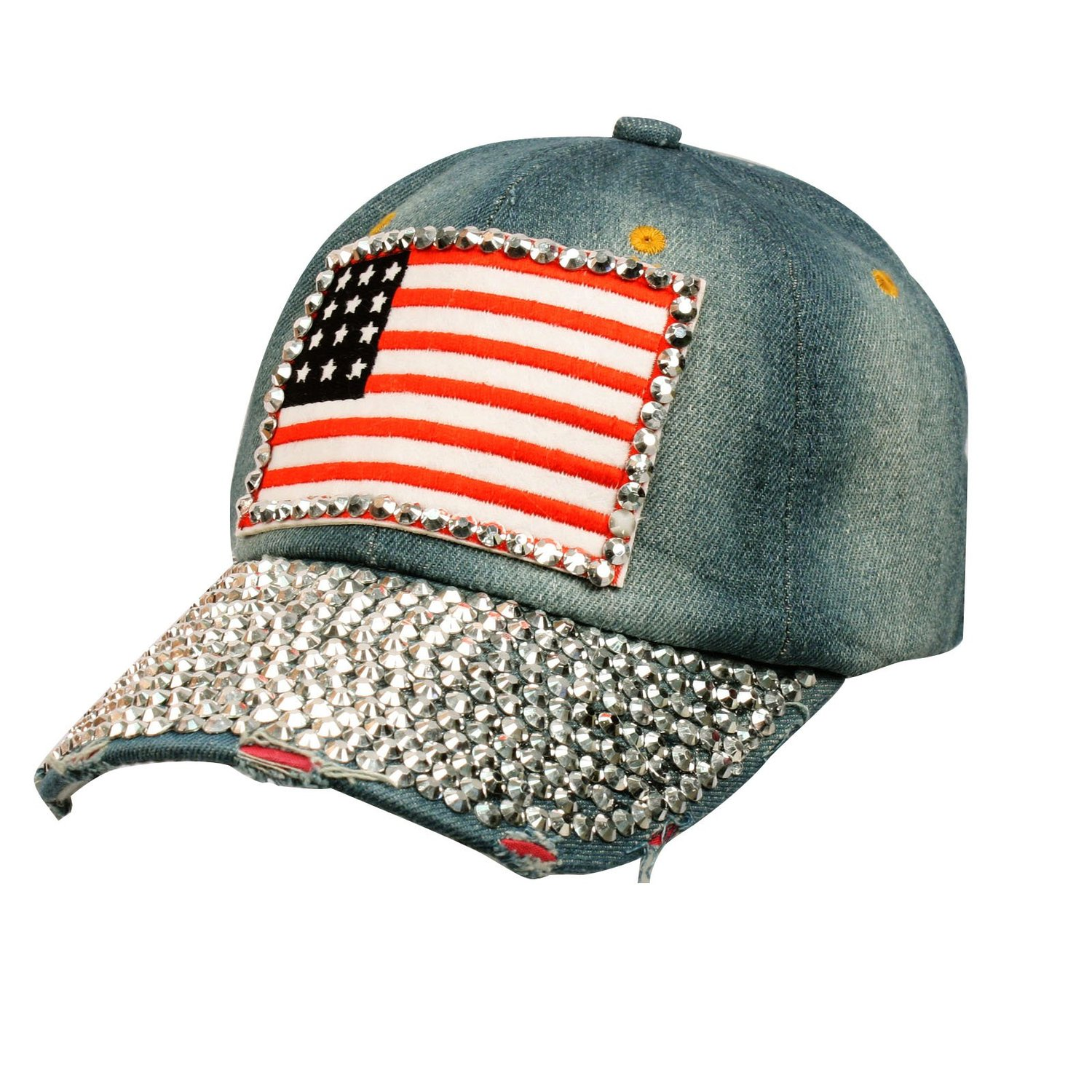 Patriotic usa flag distresed denim jean bling bling adjust baseball cap hat blue at amazon men's clothing store: