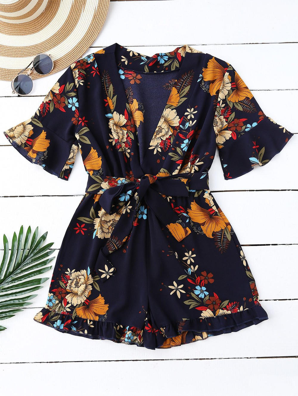 Zaful Bell Sleeve Floral Plunging Neck Romper in blue