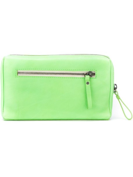 women clutch leather green bag