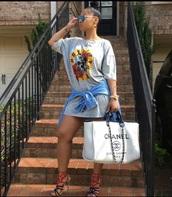 shirt,tammy rivera,chanel bag,t shirt print,cute,heels,multicolor,hair bun,simple et chic,chic,denim shirt,sunglasses