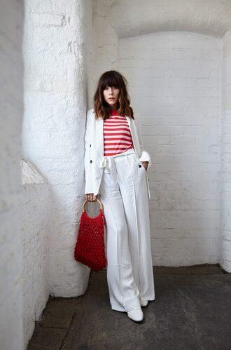 bag stripes stripes top blazer white blazer pants white pants wide-leg pants red bag shoes white shoes jacket