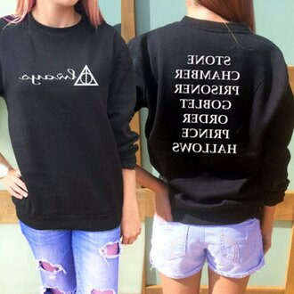 sweater rose wholesale harry potter and the deathly hallows harry potter tumblr oversized sweater black sweater instagram tumblr girl