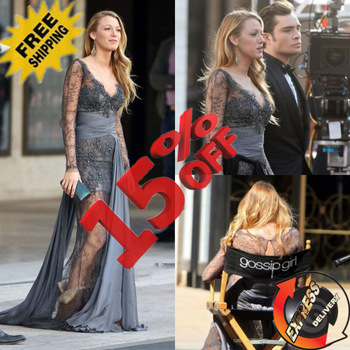 Ge521 free shipping 2013 gossip girl blake lively fashion zuhair murad long sleeves lace evening gown evening dress prom dress