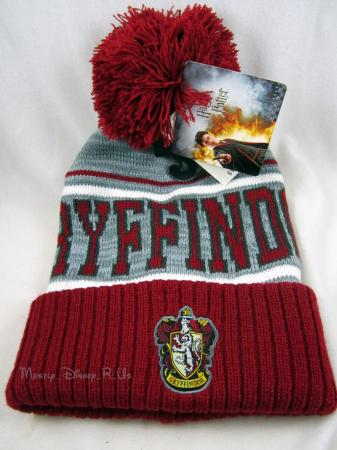 New Harry Potter Gryffindor Crest Fold Over Pom Beanie Knit Hat Winter Ski Cap | eBay