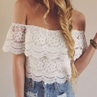 top lace top white top girl girly off shoulder top crop tops love