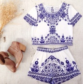 romper,china blue,antique print,two-piece,set,shorts,top,crop,high waisted,matching set,paisley,tank top,blue,white,pattern