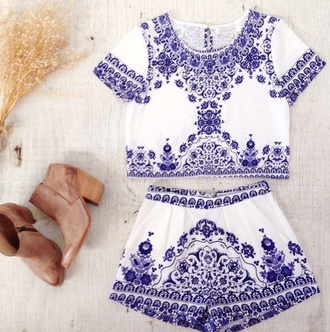 romper china blue antique print two-piece set shorts top crop high waisted matching set paisley